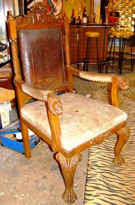 Carved Antique Lion S Head Arm Chair Worthgalleries Com