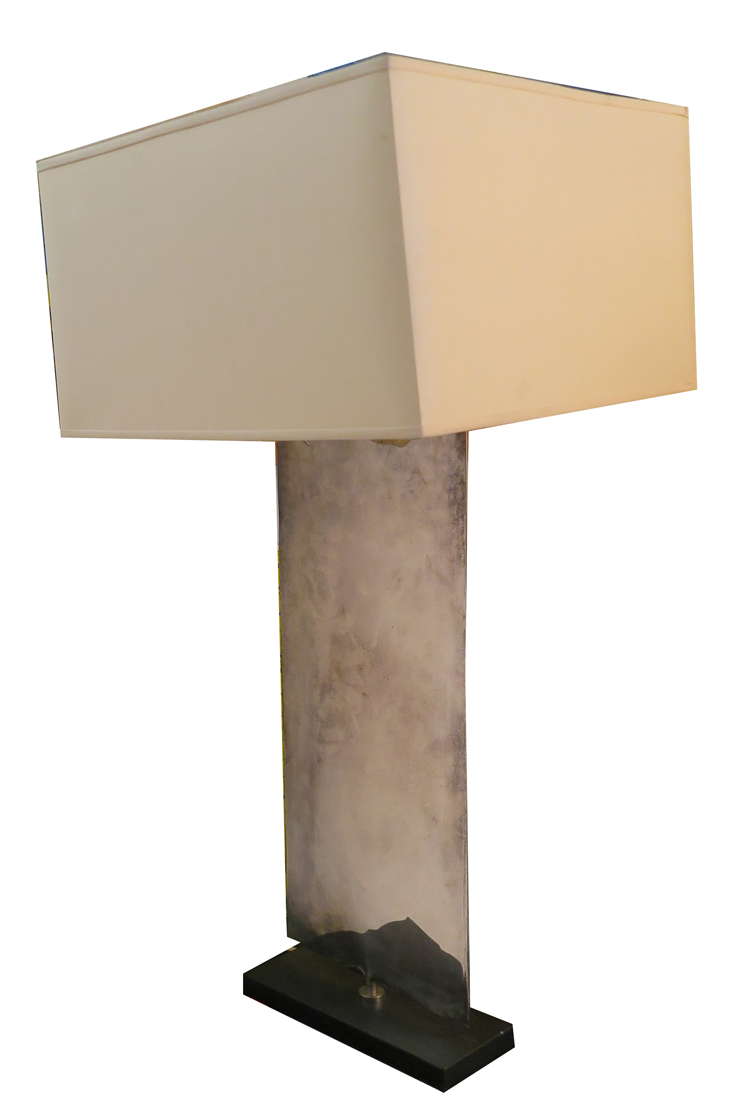 Porta romana nickel plated waterfall table lamp for Waterfall lamp shade