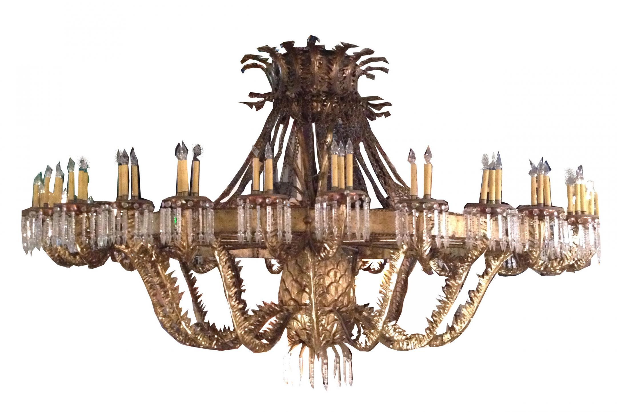 A Gilded Iron and Crystal Ballroom Chandelier Lighting