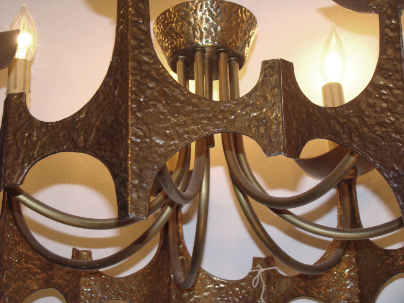 Bronze Mid Century Modern Brutalist Chandelier In The Style Of Paul Evans