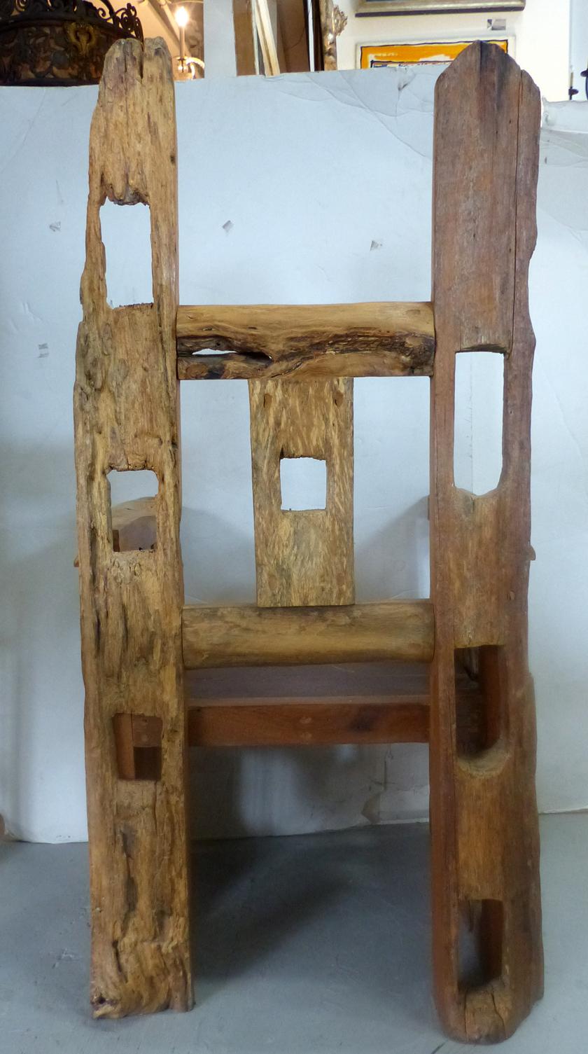 Distressed Teak Wood Chair