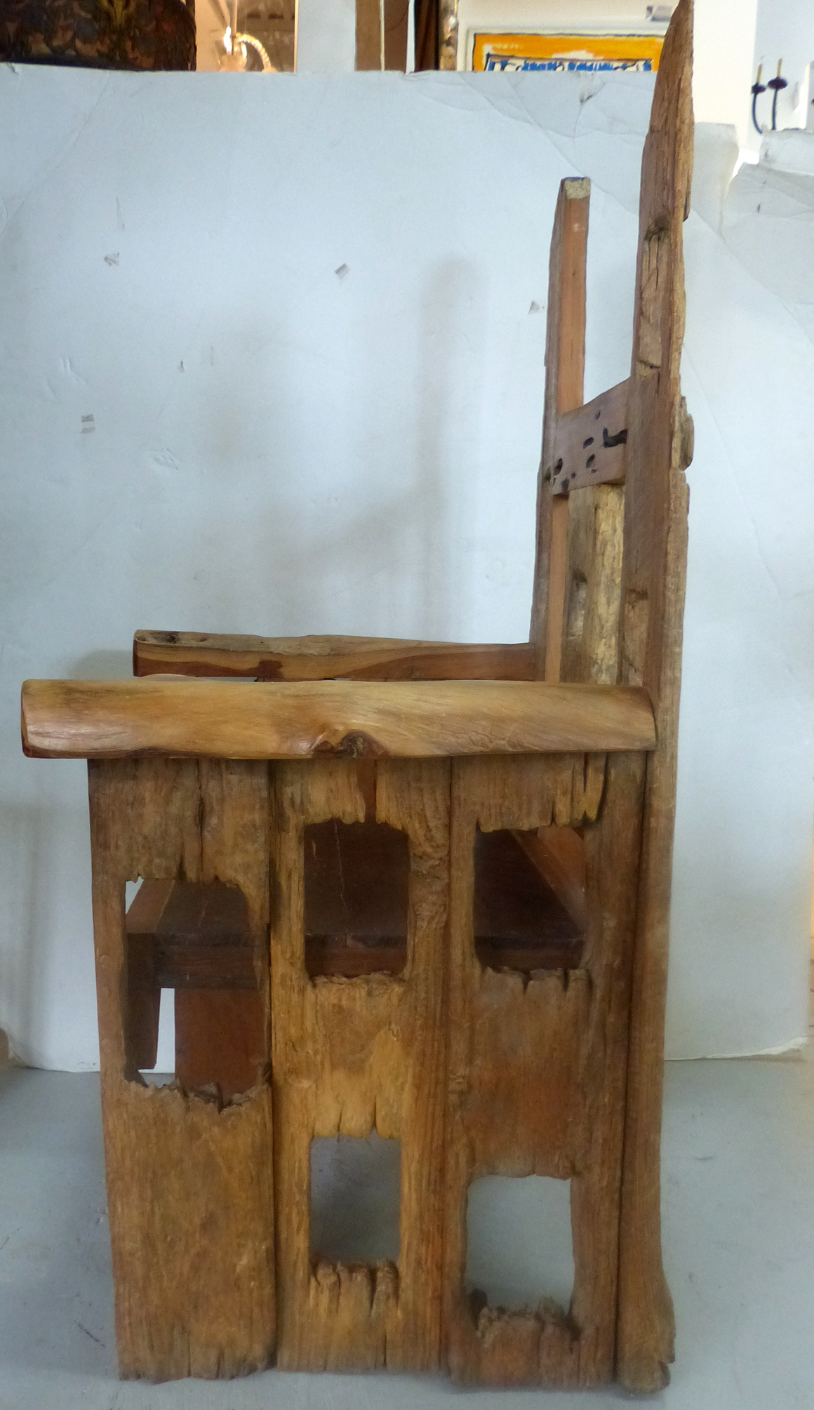 Distressed Teak Wood Chair