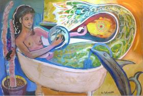 Abstract by William Rabinovitch Titled -Mermaid and Dolphin-