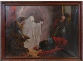 19th C.Grand Tour Oil on Canvas after Saul and the Witch of Endor in the Lourve