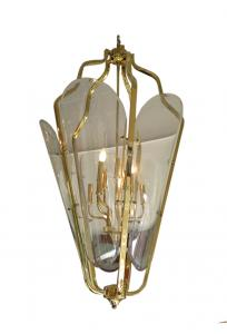 Modern Chandelier Brass and Glass