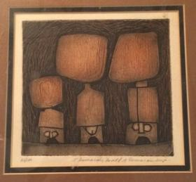 Modern J Damarais Etching