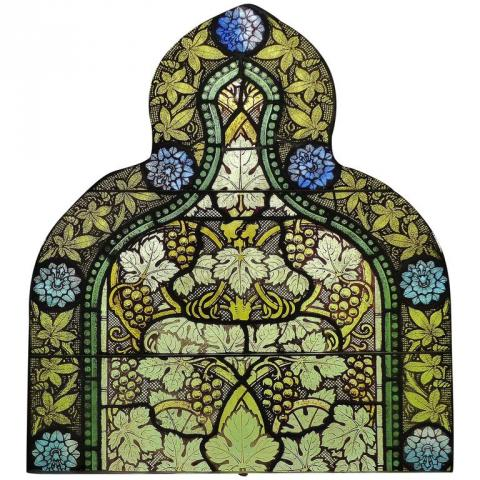 19th Century Painted Stained Glass Panel by Emil Frei