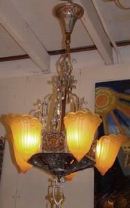 American art deco 5 light slip shade chandelier by lincoln american art deco 5 light slip shade chandelier by lincoln aloadofball Gallery