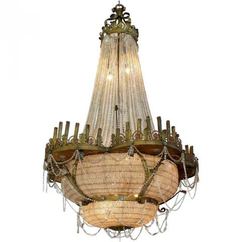 A Large Antique Bronze and Crystal Theater Chandelier Lighting