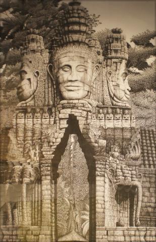 David Schofield  Drawing -Entrance to Angkor Tomb