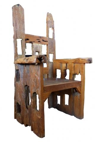 distressed wood chair