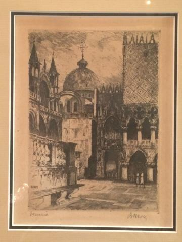 Bela Kron Hungarian Artist Orginal Etching of Venezia