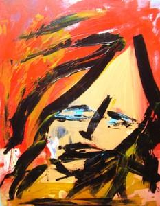 Abstract Painting of a Woman with Red Hair