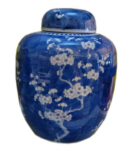 White and Blue Vase with Cap