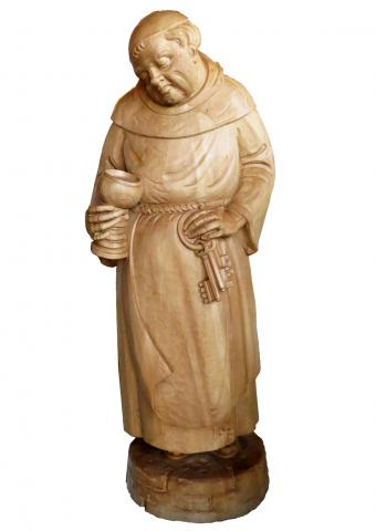 wood carved monk