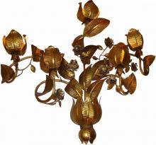 Itallian Mid Century Modern 50's Gilded Large Art Floral Sconce Sculpture