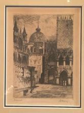 Bela Kron Hungarian Artist Orginal Etching of Venezia