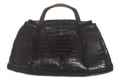 Gucci Black Crocodile Wooden Handle Handbag
