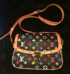 Authentic Louis Vuitton Black Multicolore Sologne Monogram Crossbody