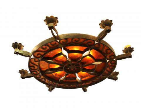 Antique Mica and Iron Chandelier