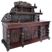 Heavily Carved Large Antique Burmese